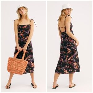 Free People Beach Party Midi Dress 10 L Black New